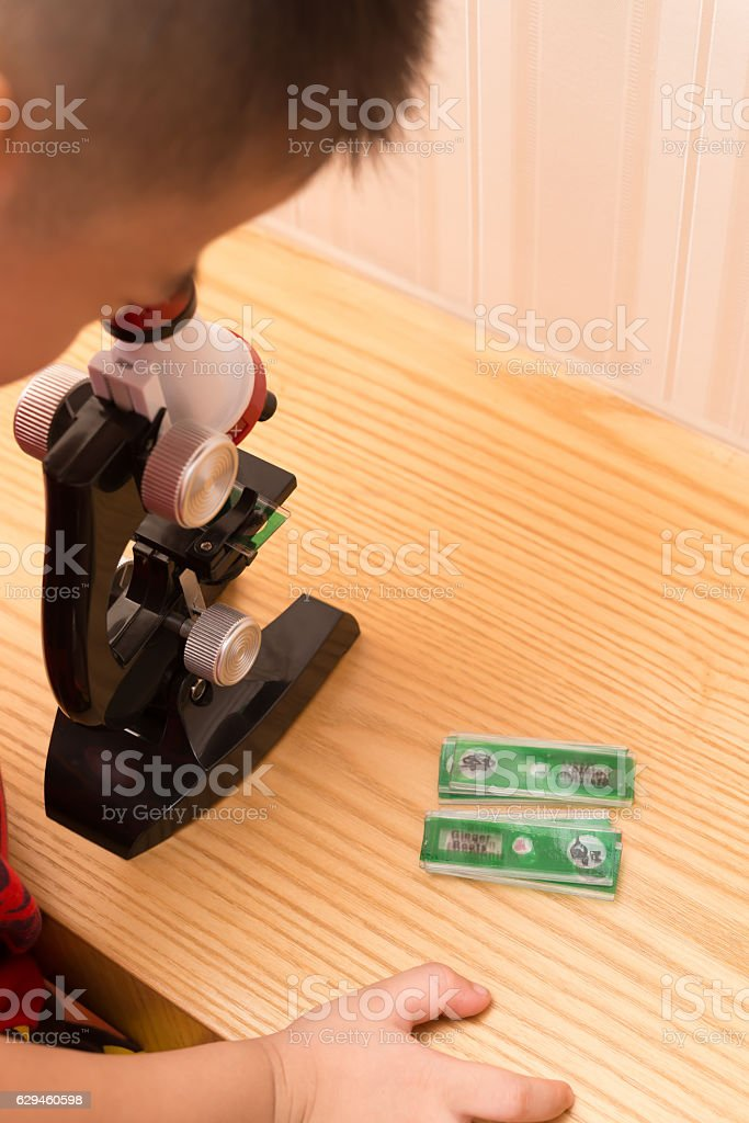 kid using a microscope to research the nature with several sample...