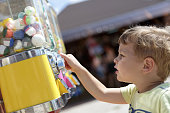Kid using vending toys