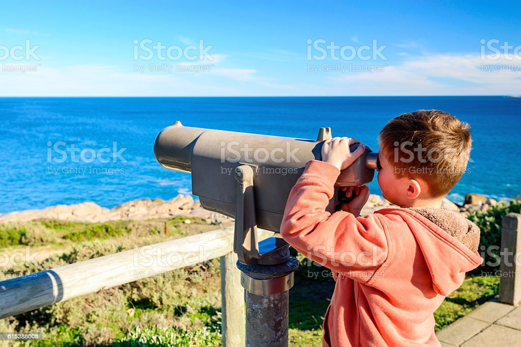 Kid watching whales stock photo