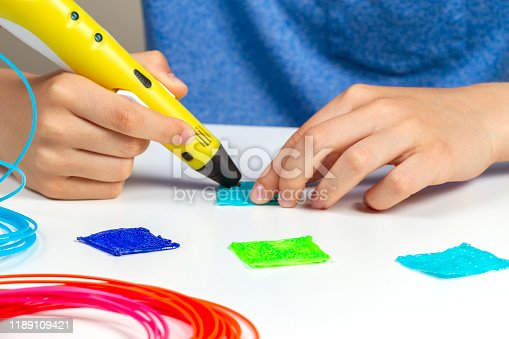 899701486 istock photo Kid with 3d pen creating new item 1189109421