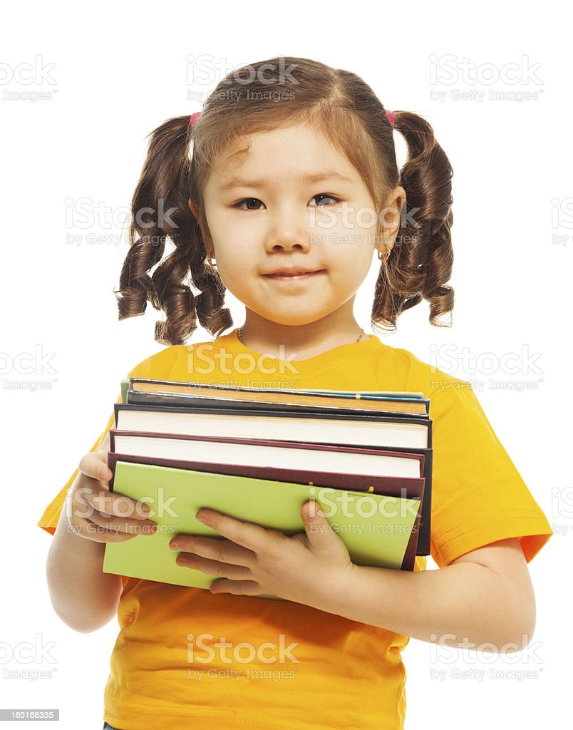 Kid with books royalty-free stock photo