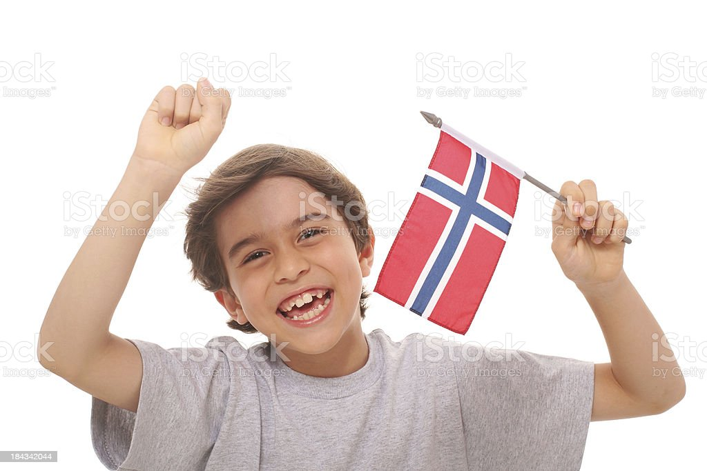 Kid With Flag of Norway stock photo