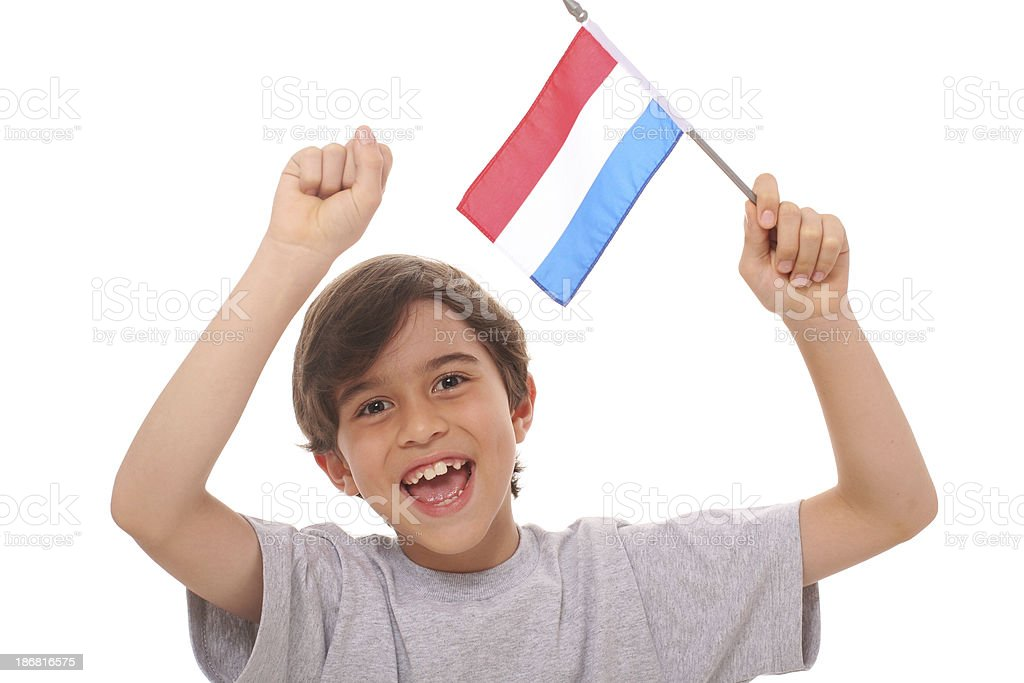 Kid With Flag of The Netherlands royalty-free stock photo