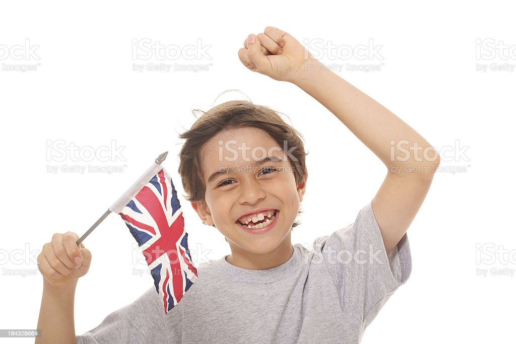 Kid With Flag of United Kingdom royalty-free stock photo