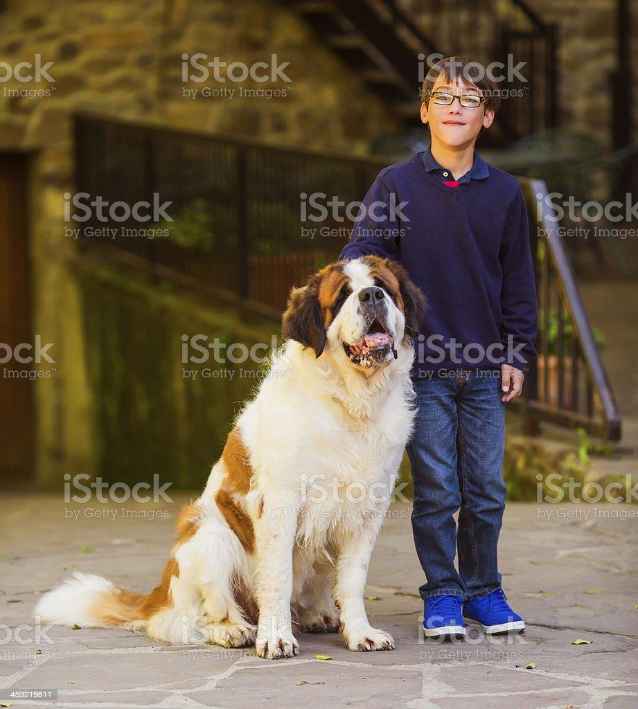 kid with st. bernard dog royalty-free stock photo