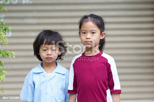 istock kid,boy and girl in sad mood in back to school day 954760388