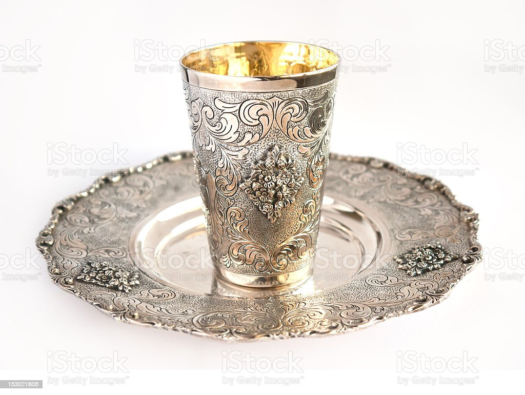 Kiddish cup (Becher) stock photo