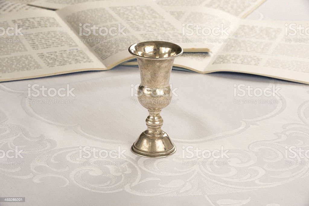 Kiddush Cup and Haggadah stock photo