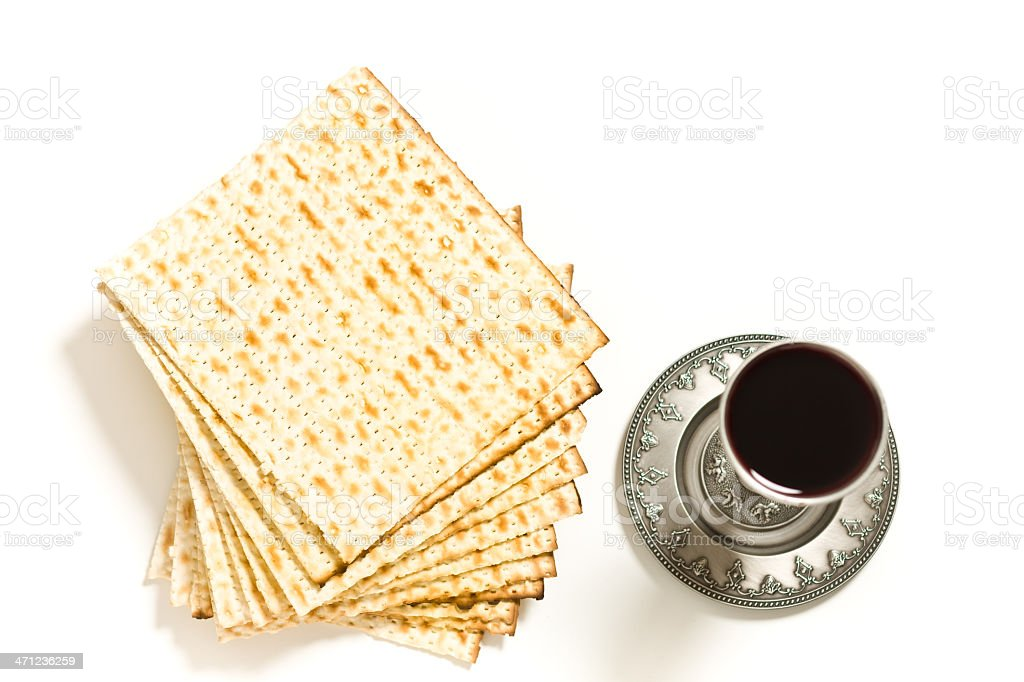Kiddush cup with matzo stock photo