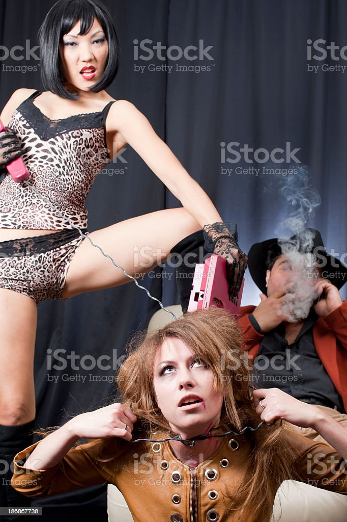 Kidnapper gangsters and victim: choking royalty-free stock photo