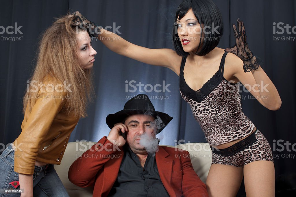 Kidnapper gangsters and victim:  slap in the face stock photo