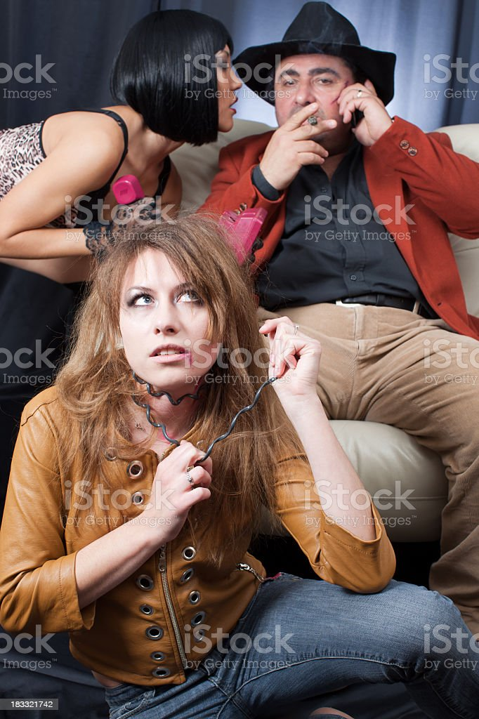 Kidnapper gangsters and victim:  whisper royalty-free stock photo