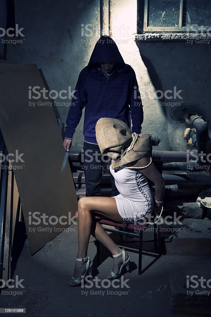 Kidnapper With His Hostage stock photo