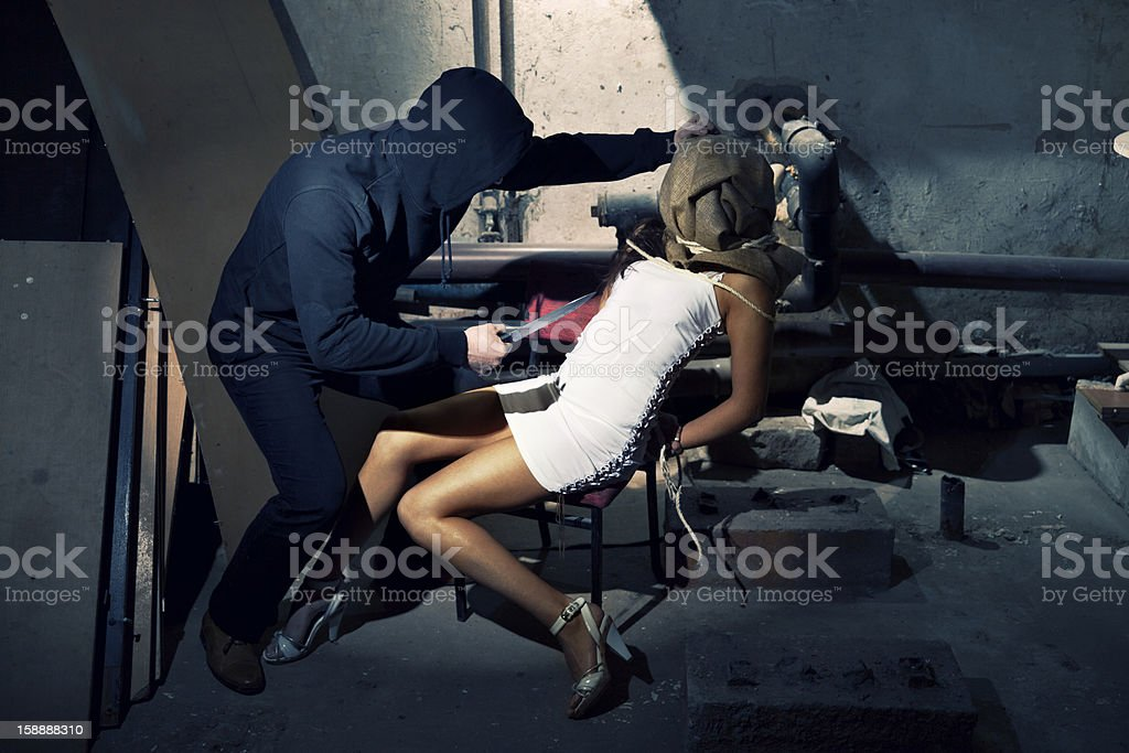 Kidnapper With His Hostage royalty-free stock photo