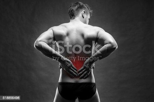istock Kidney pain on gray background 518856498