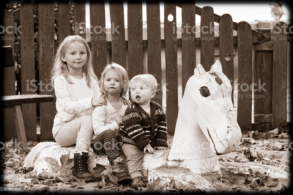 3 Kids And A Horse Stock Photo Download Image Now Istock