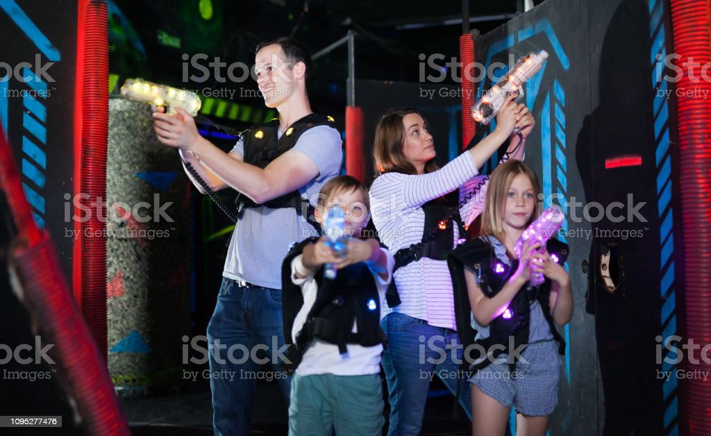 Kids And Adults On Lasertag Arena Stock Photo - Download