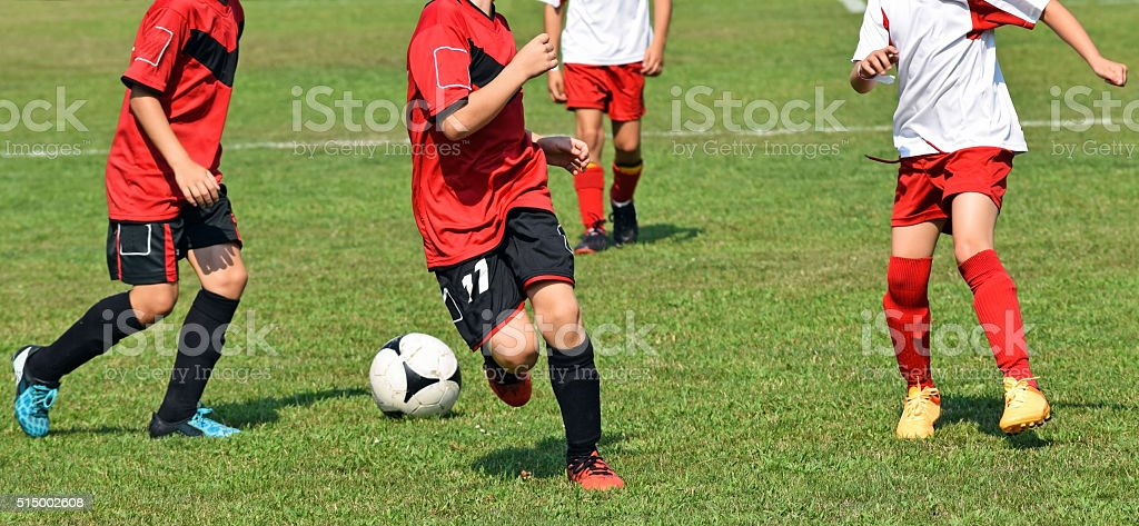 Kids are playing soccer stock photo