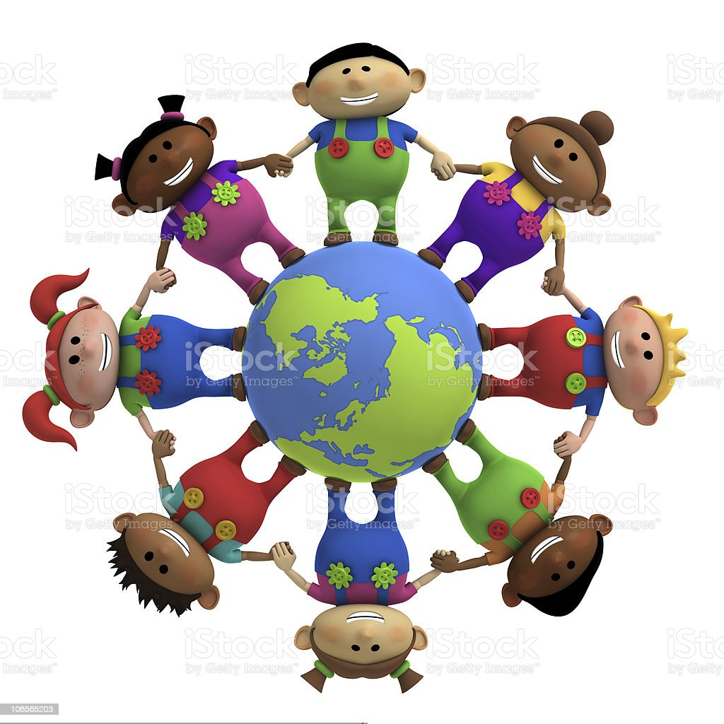 kids around globe holding hands stock photo