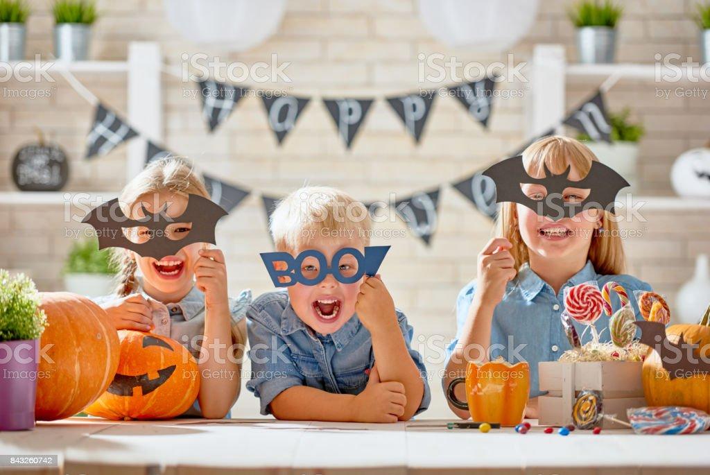 kids at halloween stock photo