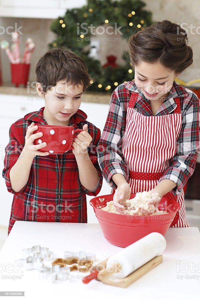Kids baking sugar cookies royalty-free stock photo