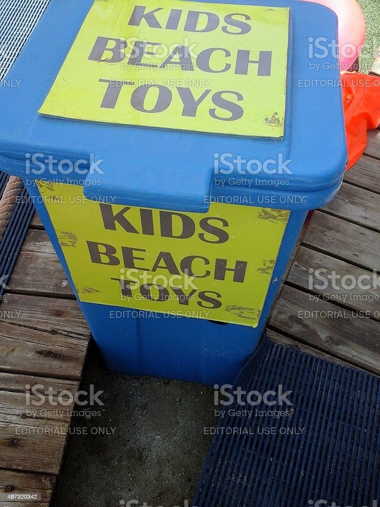 Kids beach toys stock photo