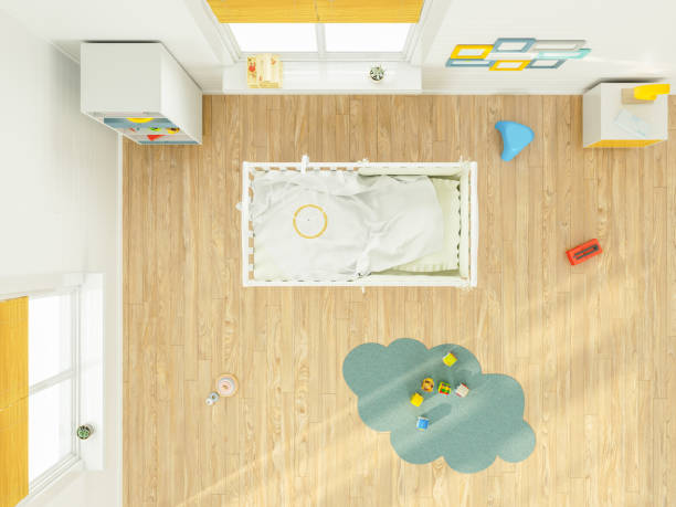 Kid's Bedroom with furniture overhead top view stock photo