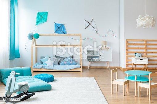1213866189 istock photo Kids bedroom with handmade furniture 844458800