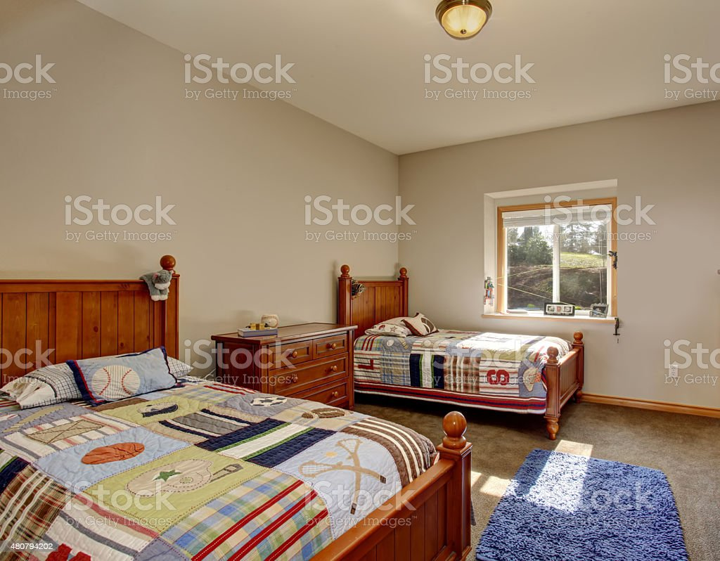 Picture of: Kids Bedroom With Twin Beds And Boy Decor Stock Photo Download Image Now Istock