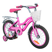 Kids Bicycle for girls with training wheels and basket, pink color. 3D rendering isolated on white background