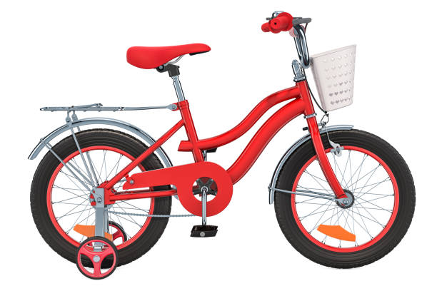 Kids Bicycle with training wheels and basket, red color. 3D rendering isolated on white background stock photo
