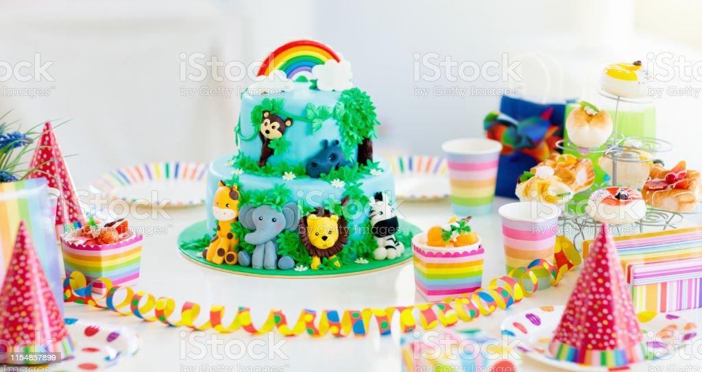 Wondrous Kids Birthday Cake Child Jungle Theme Party Stock Photo Download Personalised Birthday Cards Paralily Jamesorg