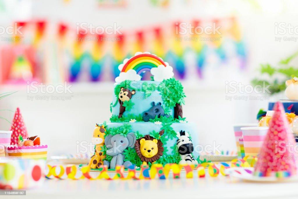 Kids Birthday Cake Child Jungle Theme Party Stock Photo