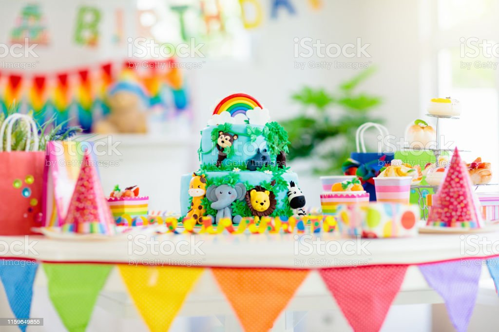 Awesome Kids Birthday Cake Child Jungle Theme Party Stock Photo Download Funny Birthday Cards Online Necthendildamsfinfo