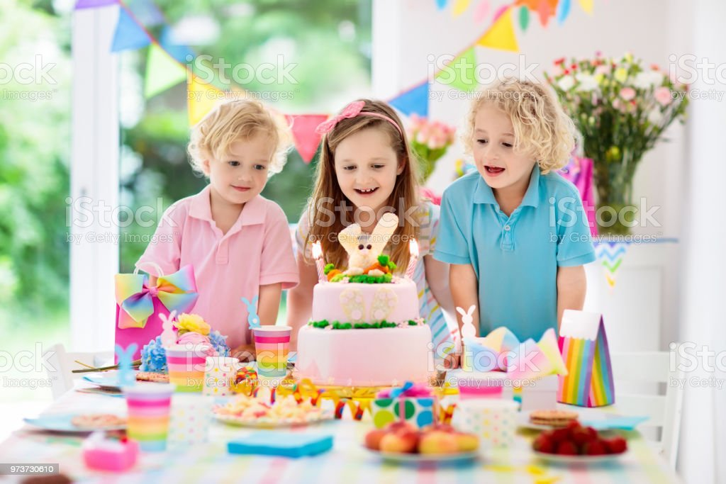 Kids Birthday Party Children Blow Cake Candles Stock Photo Download Image Now Istock