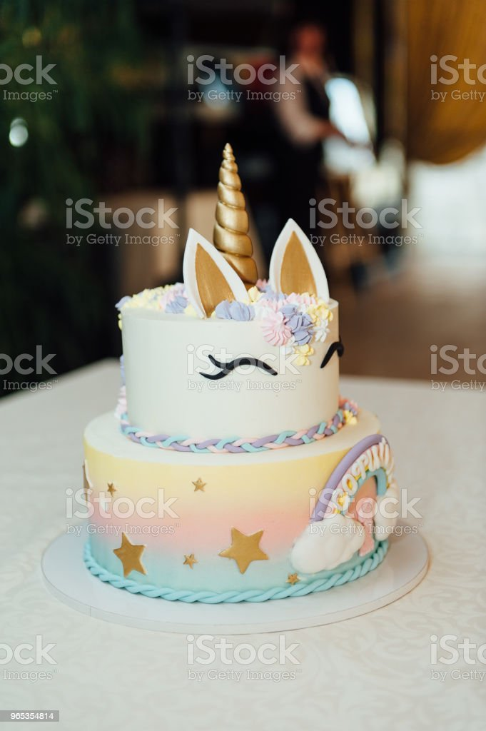 Kids birthday party decoration and cake. royalty-free stock photo