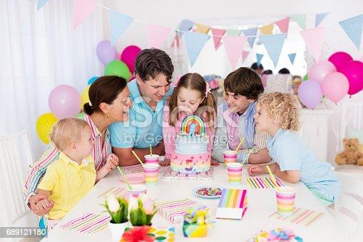 istock Kids birthday party. Family celebration with cake. 689121180