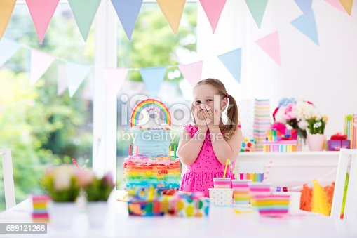 istock Kids birthday party. Little girl with cake. 689121266