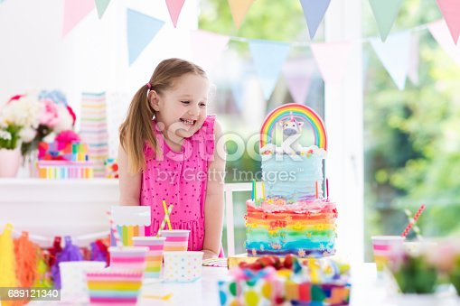 istock Kids birthday party. Little girl with cake. 689121340
