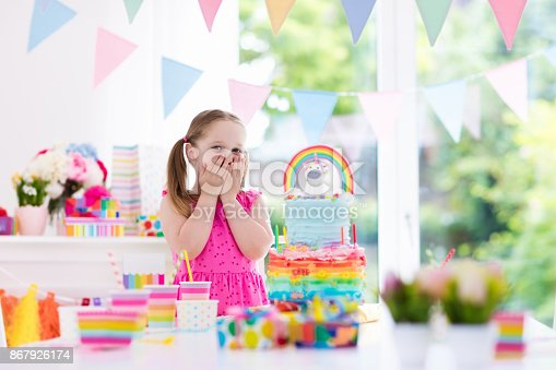 istock Kids birthday party. Little girl with cake. 867926174