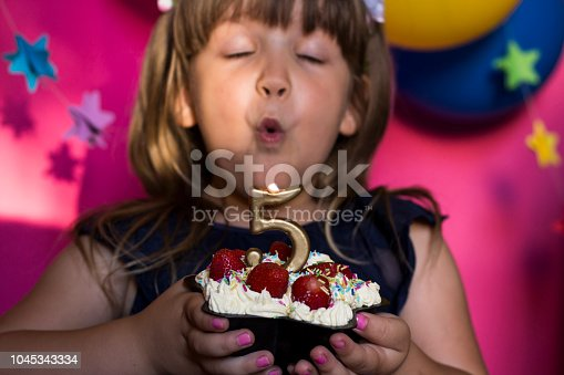istock Kids birthday party. Princess and her strawberry cake. Carefree childhood, happiness. 1045343334