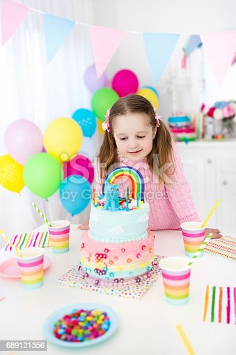 istock Kids birthday party with cake 689121356