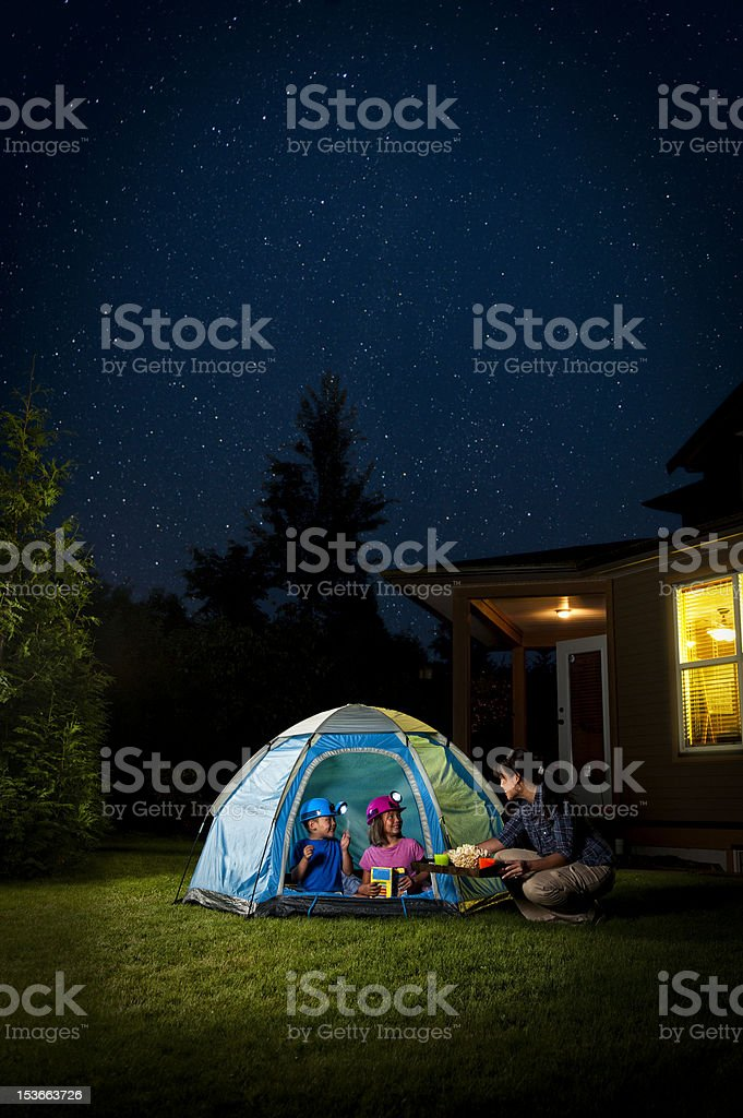 Kids Camping in Backyard royalty-free stock photo