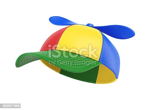 istock Kids cap with propeller, colorful hat,  3d rendering 909957868