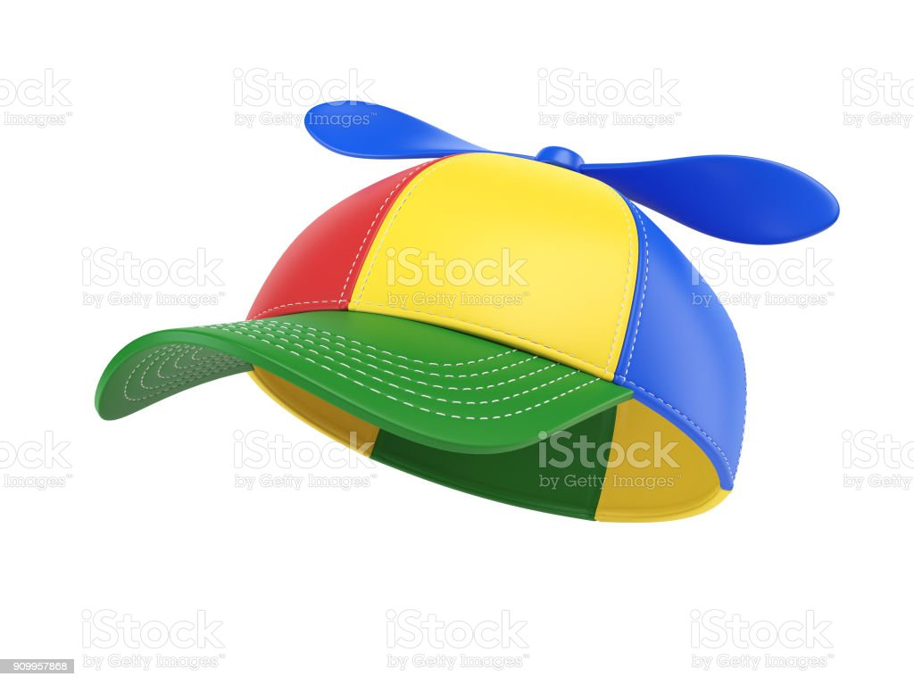 Kids cap with propeller, colorful hat,  3d rendering stock photo