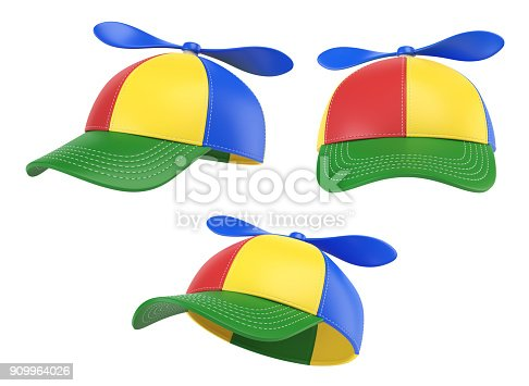 istock Kids cap with propeller, colorful hat, various views, 3d rendering 909964026