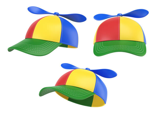 kids cap with propeller, colorful hat, various views, 3d rendering - czapka zdjęcia i obrazy z banku zdjęć
