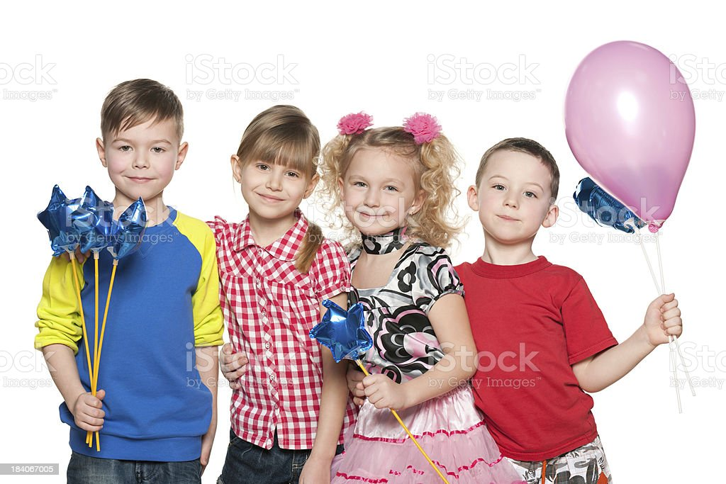 Kids celebrate birthday royalty-free stock photo