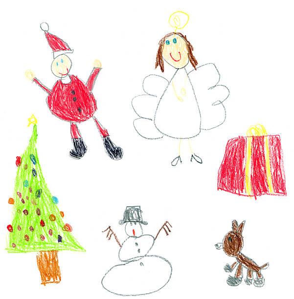 어린이 크리스마스 - kids drawing 뉴스 사진 이미지