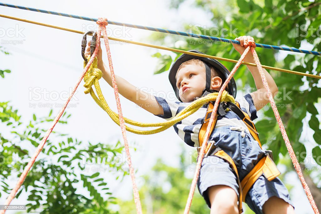 Kids climbing in adventure park. stock photo